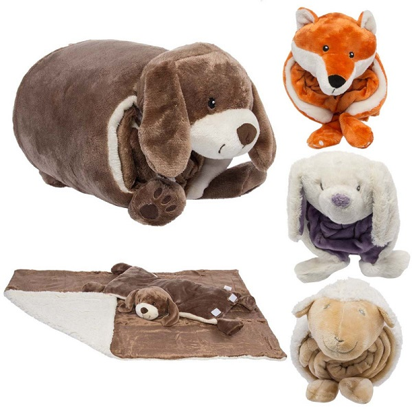 Personalized wholesale soft baby blanket animal pillow toy cushion