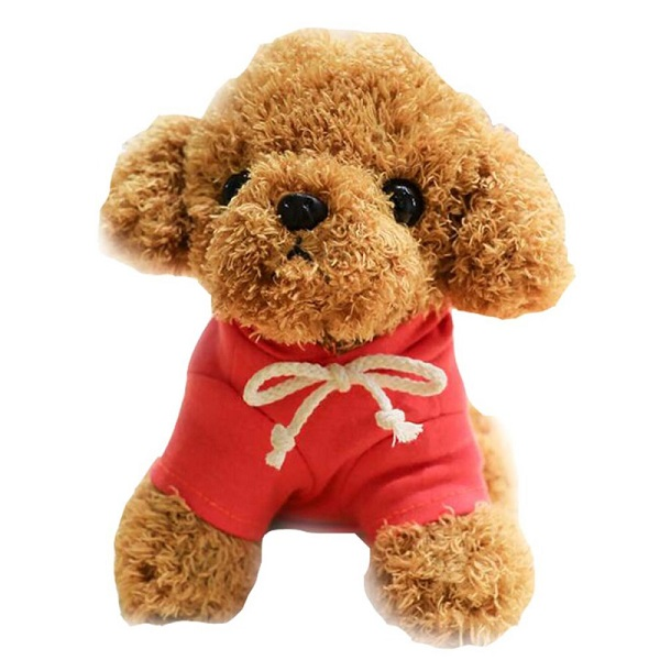 Small plush dog toy with custom hoodie T-shirt